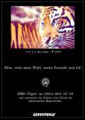 Print-Anzeige  # 349117 für Greenpeace Plakat-Wettbewerb 2014: Sujet für Plakat Kampagne zum Schutz des Sumatra Tigers Wettbewerb