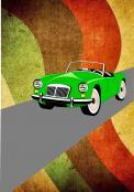 Visitekaartje # 230202 voor retro opdruk voor shirt over auto / motoren wedstrijd