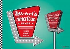 Ontwerpen van basinbeeld snackbar lunchroom amerikaanse jaren 50 en 60 stijl - Huisstijl amerikaanse ...
